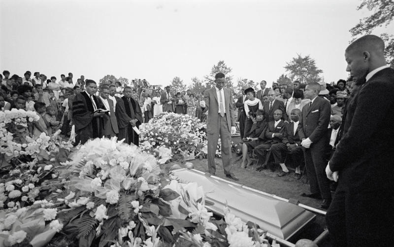 Graveside services at Birmingham's Woodlawn cemetery for Cynthia Dianne Wesley, one of the victims of the 9/15/1963 bombing of the 16th Street Baptist Church.
