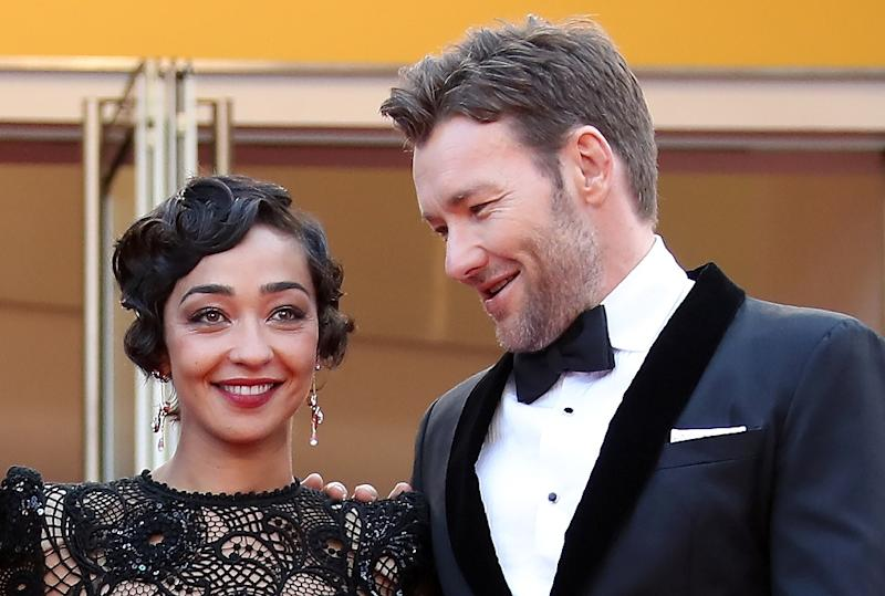 """Irish-Ethiopian actress Ruth Negga (L) and Australian actor Joel Edgerton arrive for the screening of the film """"Loving"""" at the 69th Cannes Film Festival in Cannes, southern France"""