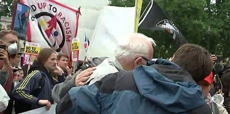 The Donald Trump supporter was violently knocked to the ground. (ITV)