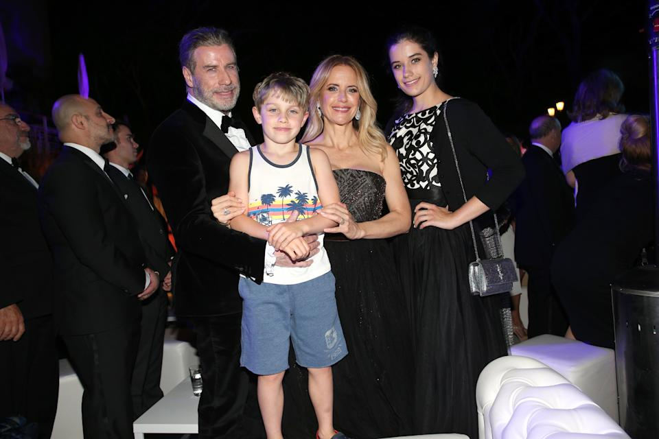 John Travolta and Kelly Preston, daughter Ella Blue Travolta (R) and son Benjamin Travolta during the party in Honour of John Travolta's receipt of the Inaugural Variety Cinema Icon Award during the 71st annual Cannes Film Festival at Hotel du Cap-Eden-Roc on May 15, 2018 in Cap d'Antibes, France. (Photo by Gisela Schober/Getty Images)