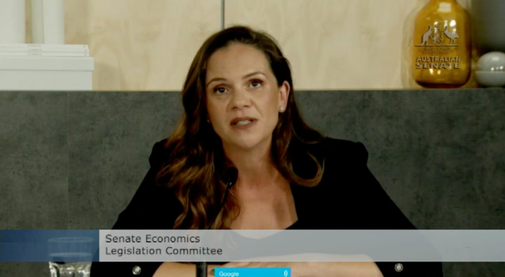 Google Australia managing director Mel Silva speaks at the Legislation Committee. Image: Australian Government