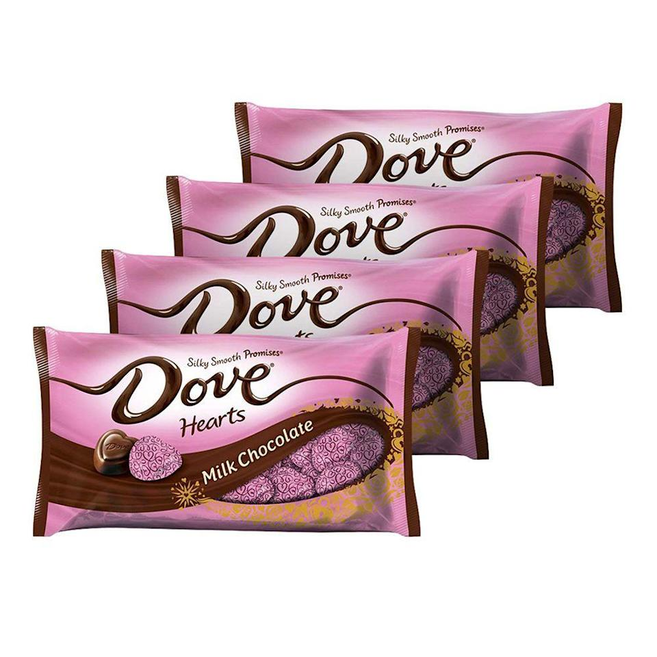"""<p><strong>Dove</strong></p><p>walmart.com</p><p><strong>$12.50</strong></p><p><a href=""""https://go.redirectingat.com?id=74968X1596630&url=https%3A%2F%2Fwww.walmart.com%2Fip%2F33740353&sref=https%3A%2F%2Fwww.bestproducts.com%2Feats%2Ffood%2Fg904%2Fvalentines-day-candy%2F"""" rel=""""nofollow noopener"""" target=""""_blank"""" data-ylk=""""slk:Shop Now"""" class=""""link rapid-noclick-resp"""">Shop Now</a></p><p>These decadent milk chocolate Promises from Dove are perfect for giving out to loved ones or stashing in your desk drawer for whenever a sweet craving strikes. </p>"""
