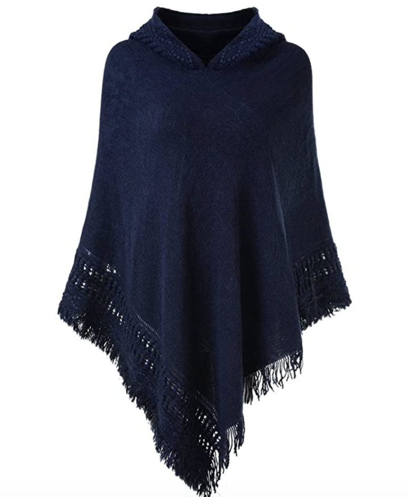 Ferand Hooded Crochet Poncho in Navy (Photo via Amazon)