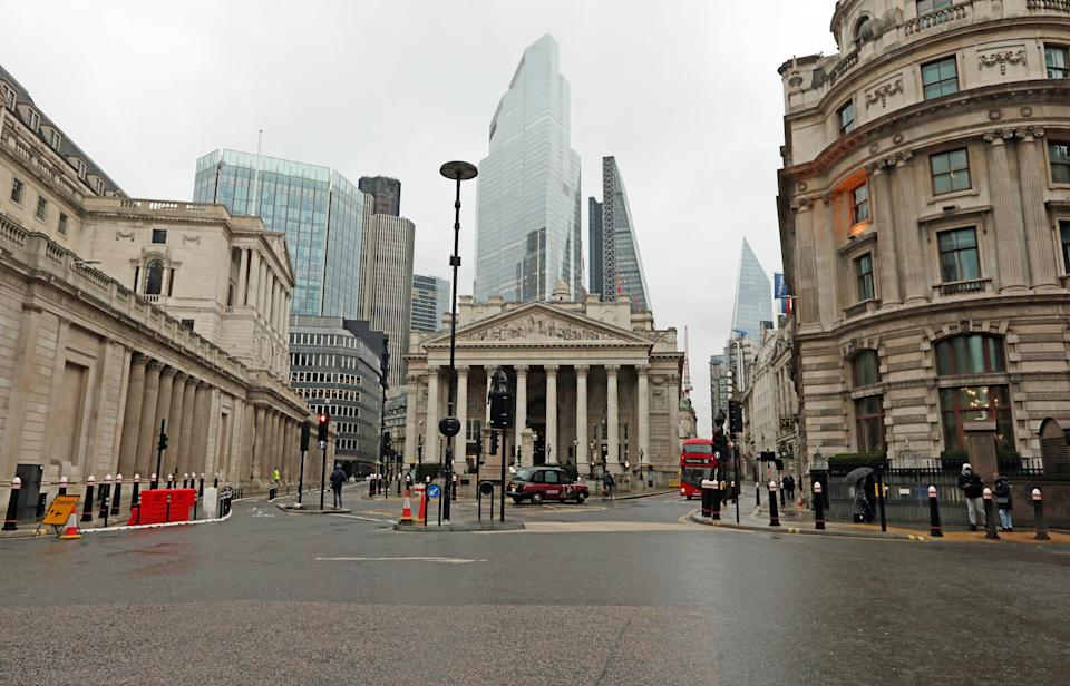An almost-deserted Bank junction in the heart of the City of London on the first business day of the New Year. (Photo by Luciana Guerra/PA Images via Getty Images)