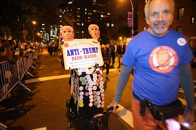 <p>The roving anti-Trump bandwagon is seen at the 44th annual Village Halloween Parade in New York City on Oct. 31, 2017. (Photo: Gordon Donovan/Yahoo News) </p>