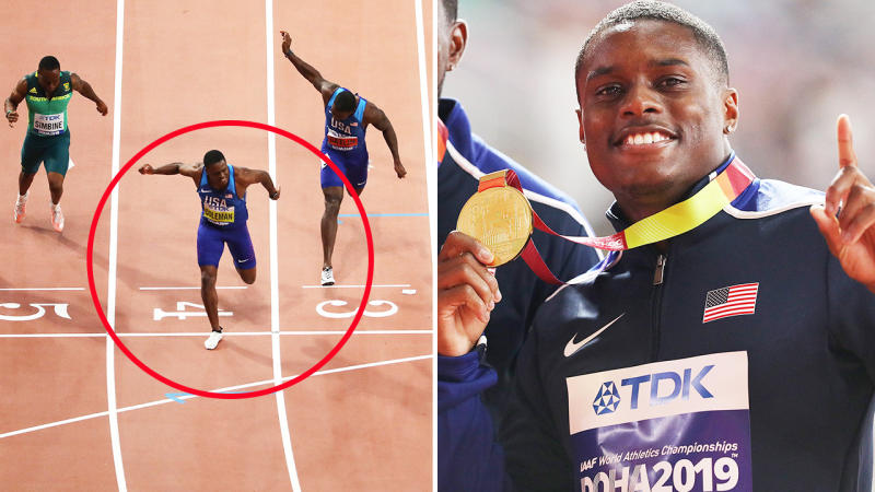 Christian Coleman, pictured here winning gold in the 100m at the 2019 world championships.