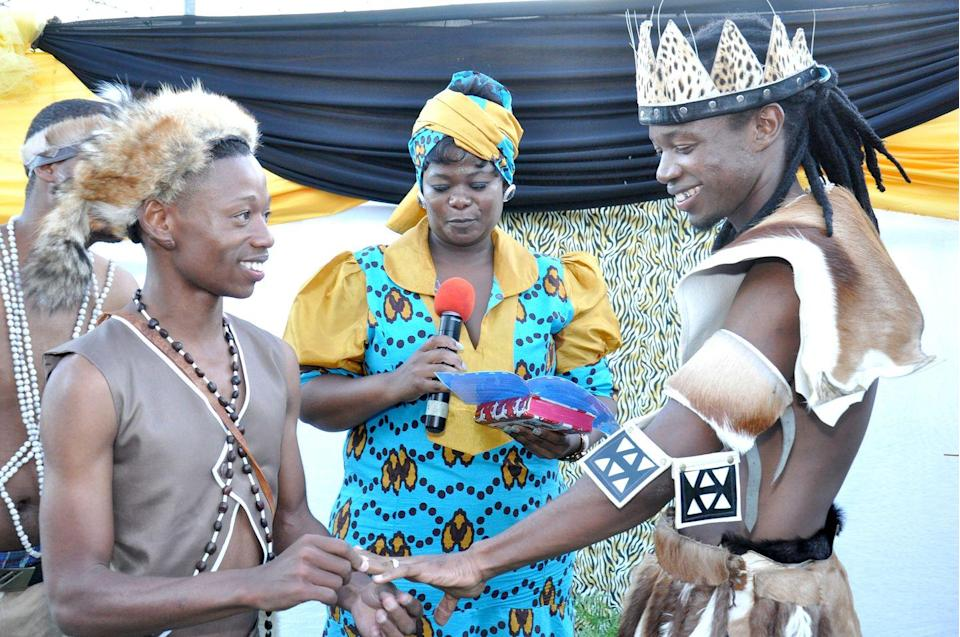 <p>In Johannesburg, South Africa Tshepo Modisane and Thobajobe Sithole made history as the first same-sex couple to wed in a traditional African ceremony. The couple were married on April 6th at Siva Sungum Hall in Kwadukuza, South Africa.</p>
