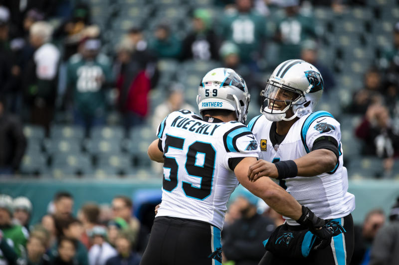 Not this week: Carolina Panthers stars Luke Kuechly, left, and Cam Newton won't play in the team's preseason opener against Chicago. (Getty Images)