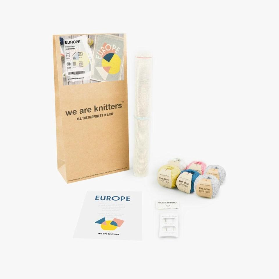 """Time at home has meant picking up new hobbies. Try needlepointing with this petit point kit, by We Are Knitters, which will leave you with a pretty design worthy of your wall space. $85, WE ARE KNITTERS. <a href=""""https://www.weareknitters.com/europe-petit-point"""" rel=""""nofollow noopener"""" target=""""_blank"""" data-ylk=""""slk:Get it now!"""" class=""""link rapid-noclick-resp"""">Get it now!</a>"""