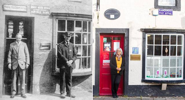 Then and now: The post office in Sanquhar, Scotland (Pictures SWNS)