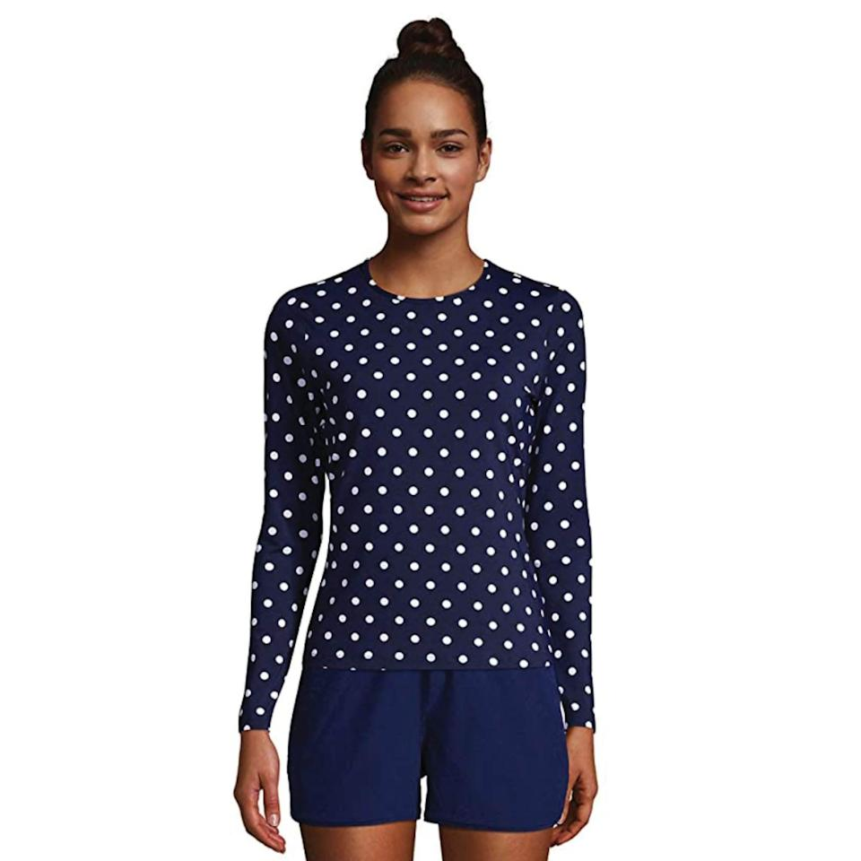 """<p><strong>Lands' End</strong></p><p>amazon.com</p><p><strong>$46.46</strong></p><p><a href=""""https://www.amazon.com/dp/B094PZCPKL?tag=syn-yahoo-20&ascsubtag=%5Bartid%7C2142.g.36448024%5Bsrc%7Cyahoo-us"""" rel=""""nofollow noopener"""" target=""""_blank"""" data-ylk=""""slk:Shop Now"""" class=""""link rapid-noclick-resp"""">Shop Now</a></p><p>Unlike usual rash guards, this one is made from LYCRA Xtra Life spandex material that lasts up to 10 times longer than regular stuff. Have I mentioned it provides sun protection up to UPF 50? The perfect top for those sun-filled days. </p>"""