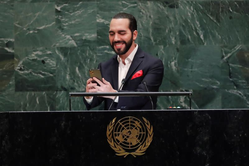 FILE PHOTO: Nayib Bukele, President of El Salvador takes a selfie before addressing the 74th session of the United Nations General Assembly at U.N. headquarters in New York City
