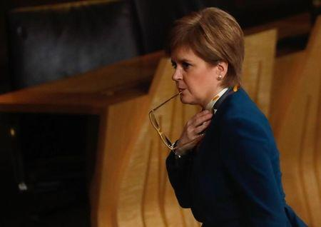 Scotland's First Minister Nicola Sturgeon attends the Brexit debate in the Scottish Parliament Edinburgh Scotland
