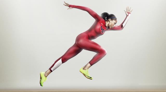 UNSPECIFIED - UNDATED - In this handout photo from Nike, Allyson Felix wears the USA Nike Pro TurboSpeed suit, made from recycled plastic bottles. (Photo by Nike via Getty Images)