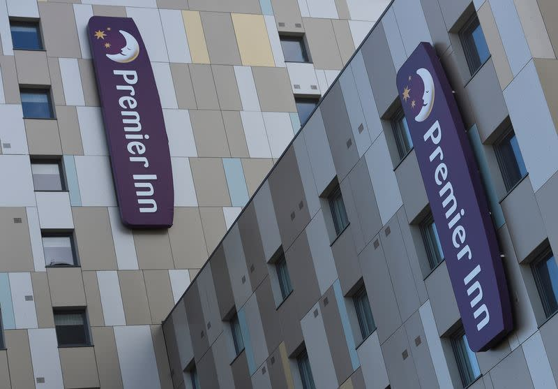 FILE PHOTO: Signage for Premier Inn is seen on the outside of one of their hotels in London, Britain
