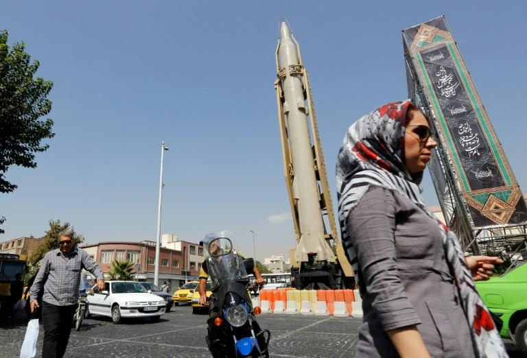 A Shahab-3 surface-to-surface missile is on display in a Tehran street exhibition by Iran's Revolutionary Guards in September 2019 marking the anniversary of the Iran-Iraq War