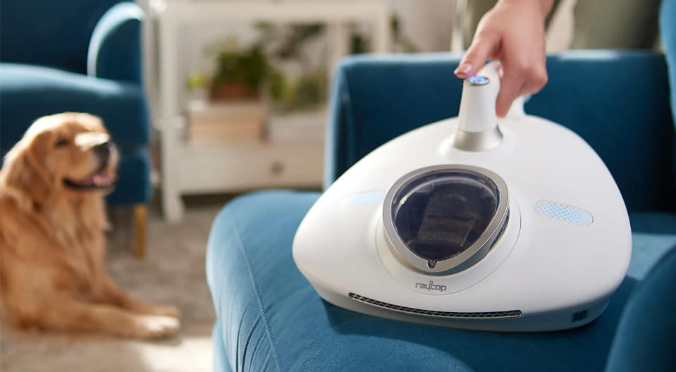 The Raycop RN Handheld UV Allergen Vacuum and Fabric Sanitizer kills 9.99 percent of influenza A viruses, staph, and e coli. (Photo: QVC)