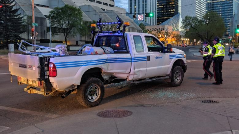 'Like something out of a movie': Man arrested after driving stolen truck erratically through downtown Edmonton