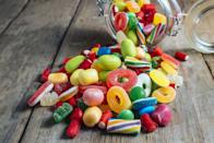 """<p>Sour gummies. Hard candies. Jelly beans. All these candy culprits and other sweet snacks, are big contributors to the fact that most American adults score more than 10 percent of their daily calories from added sugars. Those who fell below the 10 percent mark had a lower risk for death from cardiovascular disease, according to research in the <u><em><a href=""""https://jamanetwork.com/journals/jamainternalmedicine/fullarticle/1819573"""" rel=""""nofollow noopener"""" target=""""_blank"""" data-ylk=""""slk:Journal of the American Medical Association"""" class=""""link rapid-noclick-resp"""">Journal of the American Medical Association</a></em></u>.</p>"""