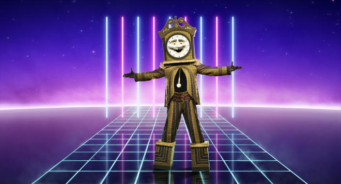 From Bandicoot TV  The Masked Singer: SR2 on ITV  Pictured: Grandfather Clock.  This photograph is (C) ITV Plc and can only be reproduced for editorial purposes directly in connection with the programme or event mentioned above, or ITV plc. Once made available by ITV plc Picture Desk, this photograph can be reproduced once only up until the transmission [TX] date and no reproduction fee will be charged. Any subsequent usage may incur a fee. This photograph must not be manipulated [excluding basic cropping] in a manner which alters the visual appearance of the person photographed deemed detrimental or inappropriate by ITV plc Picture Desk.  This photograph must not be syndicated to any other company, publication or website, or permanently archived, without the express written permission of ITV Picture Desk. Full Terms and conditions are available on the website www.itv.com/presscentre/itvpictures/terms  For further information please contact: james.hilder@itv.com / 0207 157 3052