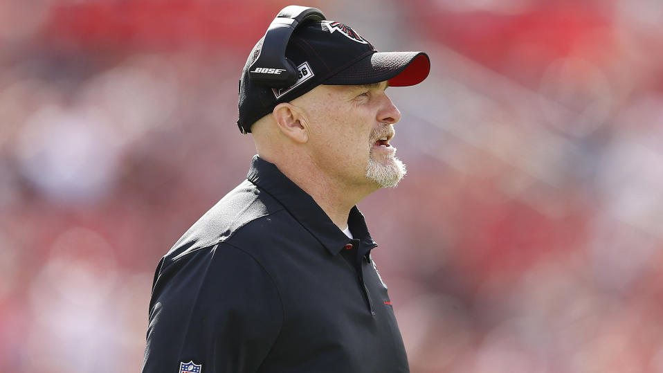 TAMPA, FLORIDA - DECEMBER 29:  Head coach Dan Quinn of the Atlanta Falcons reacts against the Tampa Bay Buccaneers during the first half at Raymond James Stadium on December 29, 2019 in Tampa, Florida. (Photo by Michael Reaves/Getty Images)