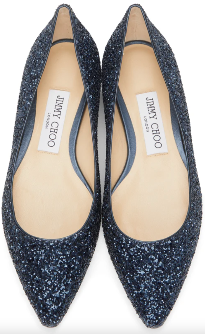 Jimmy Choo Glitter 'Romy' Ballerina Flats (Photo via SSENSE)