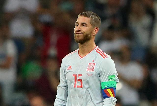 FILE PHOTO: Soccer Football - World Cup - Group B - Portugal vs Spain - Fisht Stadium, Sochi, Russia - June 15, 2018 Spain's Sergio Ramos looks dejected after conceding the second goal REUTERS/Hannah McKay/File Photo