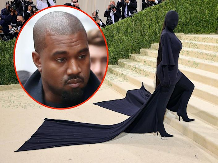 A photo of Kim Kardashian West at the Met Gala with an inset of Kanye West.