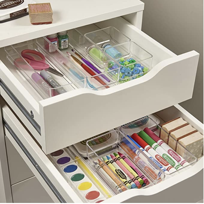 Clear Plastic Vanity and Desk Drawer Organizers, 6 Piece Set. PHOTO: Amazon