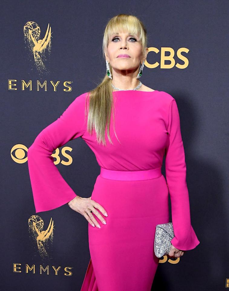 """<p>Jane Fonda was almost unrecognizable at the 69th Primetime Emmy Awards — the 79-year-old ditched her short, shoulder-length feathered 'do and gave us life with a high Ariana Grande-style Barbie ponytail and blunt bangs! The bangs are her own, she told the press, and fans couldn't get enough:<br />""""Jane Fonda is turning 80-years-old this year and still looks better than I ever will. That ponytail. Life."""" One fan tweeted. """"I feel like not enough people are freaking out that JANE FONDA LOOKS LIKE THIS AT 79-YEARS-OLD. I'M SHOOK,"""" another said… </p>"""