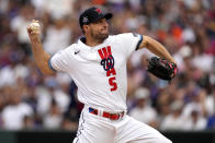 National League's starting pitcher Max Scherzer, of the Washington Nationals, throws during the first inning of the MLB All-Star baseball game, Tuesday, July 13, 2021, in Denver. (AP Photo/Jack Dempsey)
