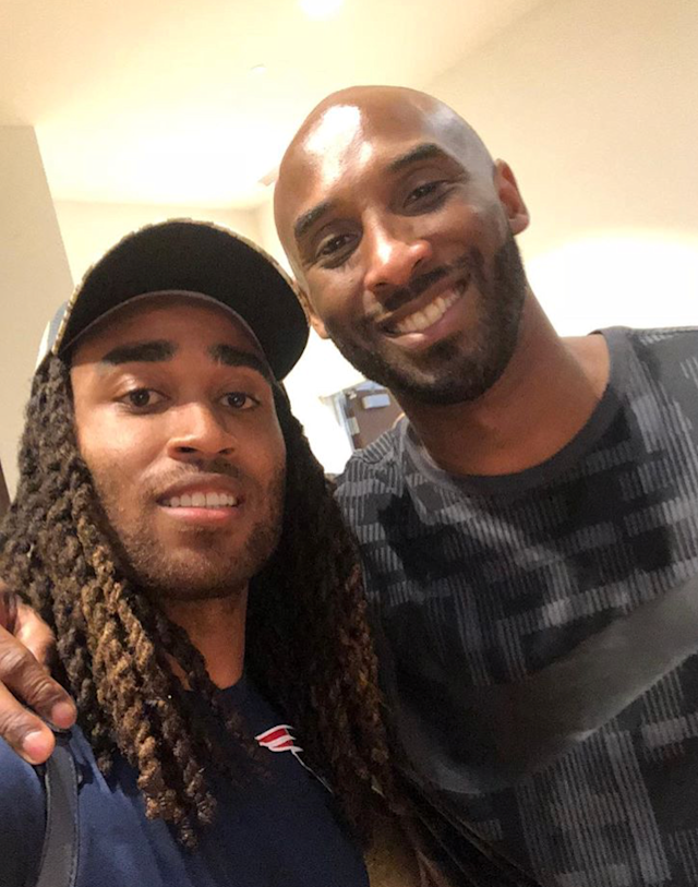 Retired NBA star Kobe Bryant, right, visited the New England Patriots facility on Wednesday. Here he posed with cornerback Stephon Gilmore. (Gilmore/Instagram)