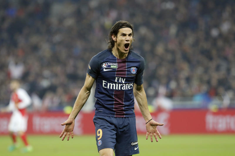 PSG's Roberto Edinson Cavani reacts during the League Cup final soccer match between PSG and Monaco in Decines, near Lyon, central France, Saturday, April 1, 2017. (AP Photo/Laurent Cipriani)