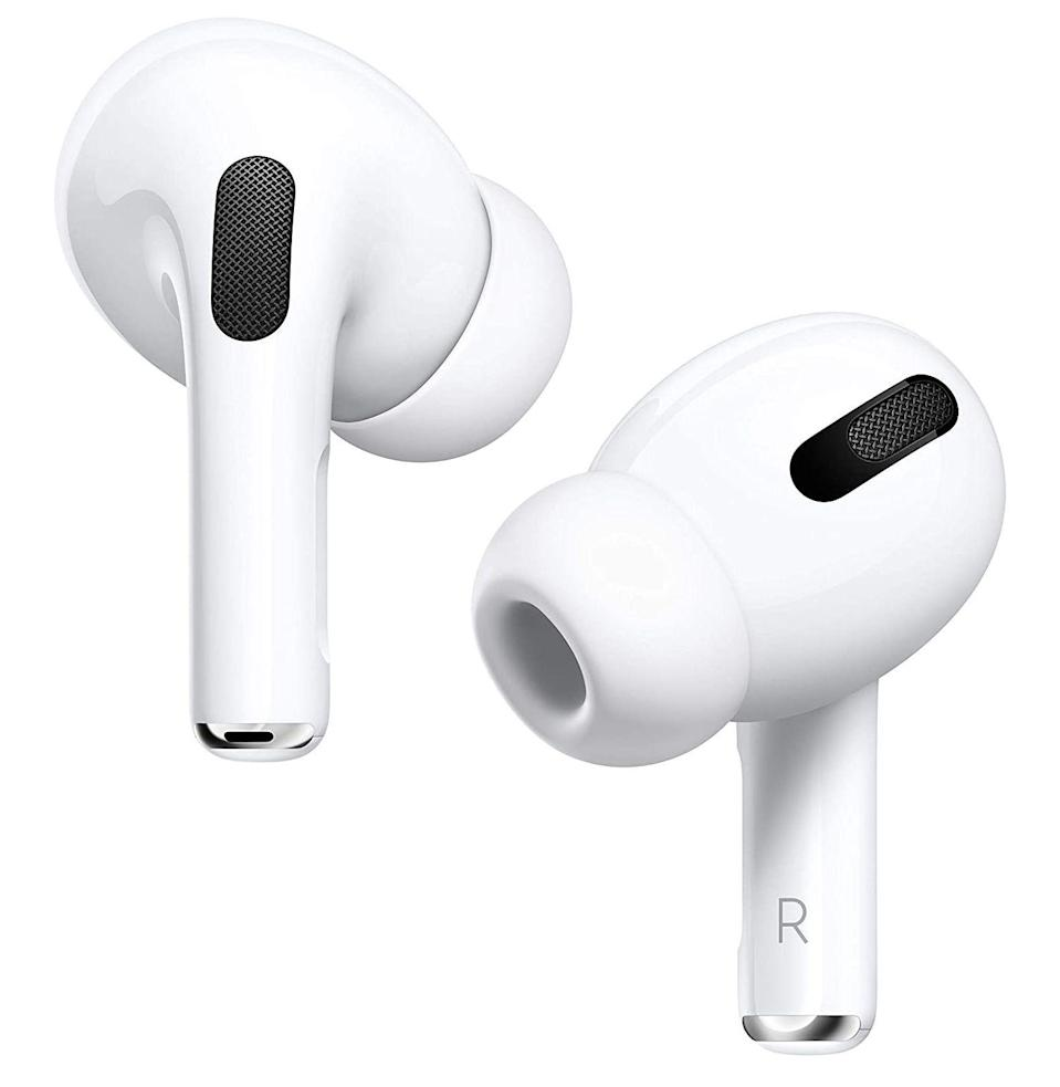 """<p><strong>Apple</strong></p><p>amazon.com</p><p><strong>$229.95</strong></p><p><a href=""""https://www.amazon.com/dp/B07ZPC9QD4?tag=syn-yahoo-20&ascsubtag=%5Bartid%7C10054.g.33338048%5Bsrc%7Cyahoo-us"""" rel=""""nofollow noopener"""" target=""""_blank"""" data-ylk=""""slk:Buy"""" class=""""link rapid-noclick-resp"""">Buy</a></p><p>It's passe verging on boring to gush about Apple products. But damn if these earbuds don't have <a href=""""https://www.esquire.com/lifestyle/a29612084/apple-airpods-pro-active-noise-cancellation-review/"""" rel=""""nofollow noopener"""" target=""""_blank"""" data-ylk=""""slk:great features"""" class=""""link rapid-noclick-resp"""">great features</a> for those who aren't keen to subject their entire head to a headphone strap. There are three modes: ANC (which is powerfully effective), transparency mode (which filters out enough to keep your music unmuddied, but still allow you to interact with the world), and <em>au naturel </em>(no sound filtration, just normal earbuds). Even better, the stick, which you click to control, isn't as egregiously long as that on the original Airpods.</p><p><em>Battery life: 4.5 hours + 24 hours with charging case</em></p>"""
