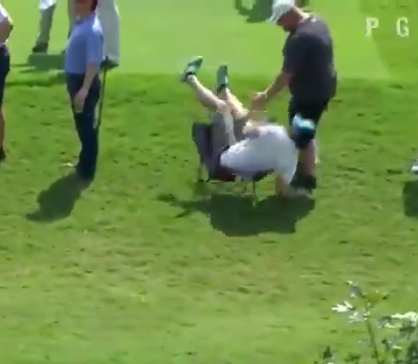 Watch Jhonattan Vegas literally knock a fan out of his seat with a shank at the Tour Championship