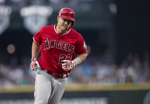 Los Angeles Angels' Mike Trout runs the bases after hitting a solo home run off Seattle Mariners starting pitcher Mike Leake during the sixth inning of a baseball game Friday, May 31, 2019, in Seattle. (AP Photo/Stephen Brashear)