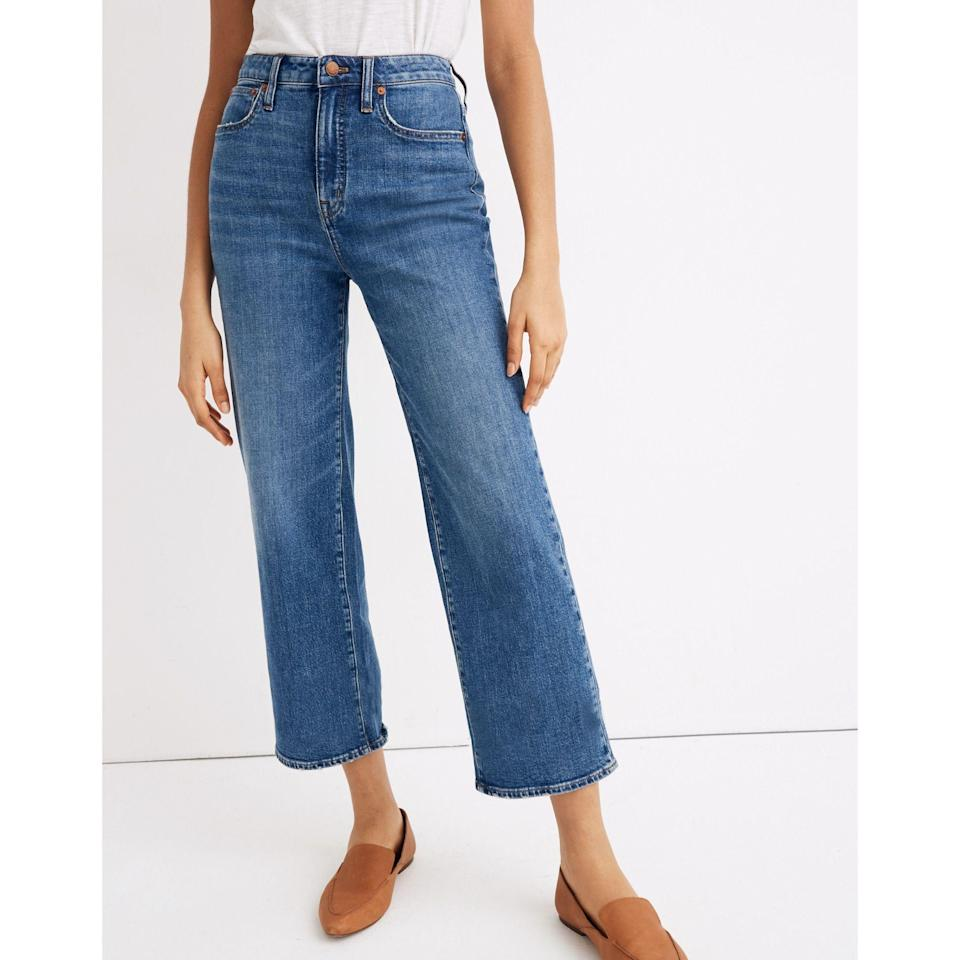 """<p><strong>Madewell </strong></p><p>madewell.com</p><p><a href=""""https://go.redirectingat.com?id=74968X1596630&url=https%3A%2F%2Fwww.madewell.com%2Fcurvy-slim-wide-leg-crop-jeans-in-newington-wash-AJ184.html&sref=https%3A%2F%2Fwww.elle.com%2Ffashion%2Fshopping%2Fg33350117%2Fmadewell-sale-july-2020%2F"""" rel=""""nofollow noopener"""" target=""""_blank"""" data-ylk=""""slk:SHOP IT"""" class=""""link rapid-noclick-resp"""">SHOP IT</a></p><p><strong><del>$128</del> <del>$90</del> $54</strong></p><p>If the thought of putting on skinny jeans right now gives you heart palpitations, allow me to introduce you to a flattering pair of wide-leg jeans. As one reviewer puts it, """"I love these slim wide leg crop jeans in the curvy option; the fit is great for curvier figures with no waist gap and extra room where needed.""""<br></p>"""