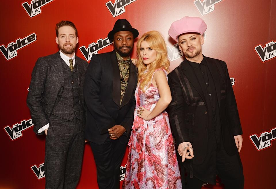<p>Faith with singers Ricky Wilson, Will.i.am, and Boy George</p>BBC/Getty