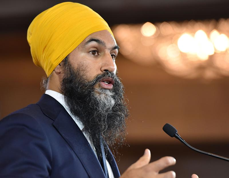 NDP leader Jagmeet Singh delivers his concession speech at the NDP Election Night Party in Burnaby BC, Canada, on October 21, 2019. (Photo: DON MACKINNON via Getty Images)