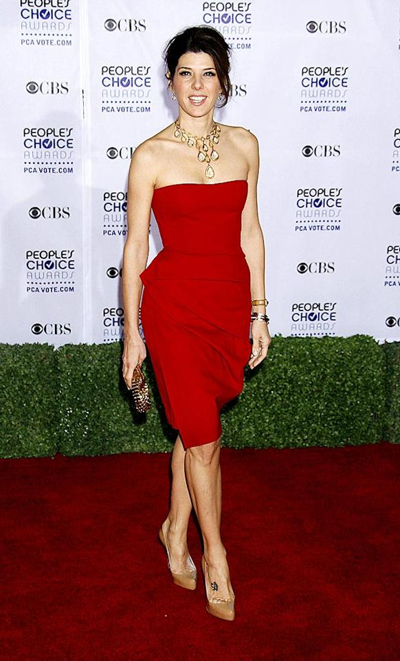 "Marisa Tomei donned this strapless scarlet dress to the People's Choice Awards. Soft folds enhanced the simple silhouette. Jeffrey Mayer/<a href=""http://www.wireimage.com"" target=""new"">WireImage.com</a> - January 7, 2009"