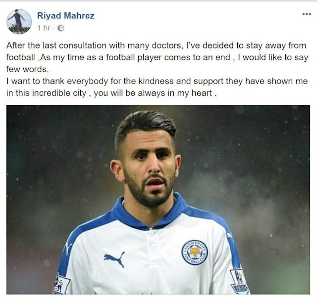 The Algeria international's social media page suggests he has been forced to hang up his boots on medical grounds, but the Foxes have denied it