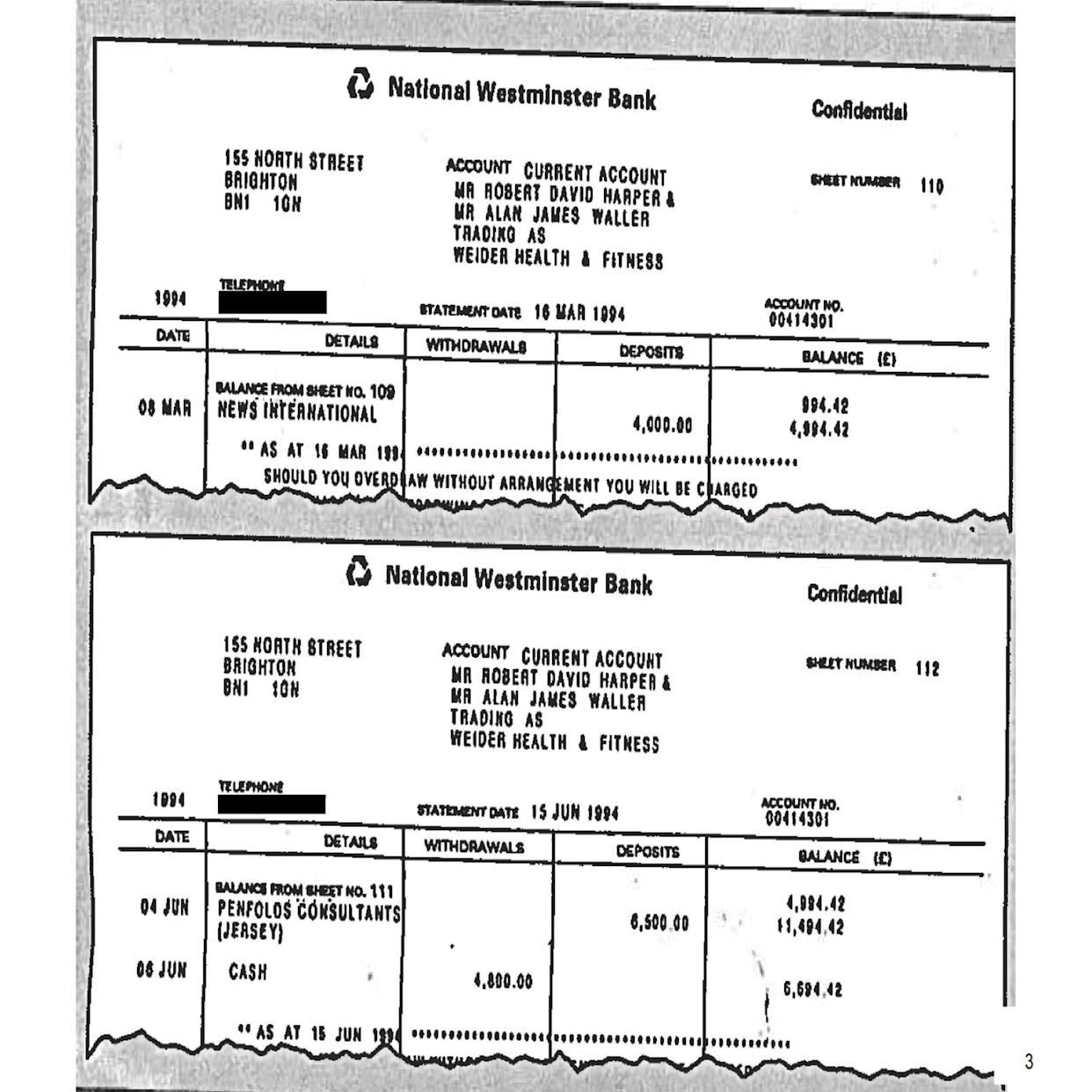 Fake bank statements relating to News International and Penfold Consultants (Jersey), as published in an Annex to Lord Dyson's independent investigation into the circumstances around the programme. Issue date: Thursday May 20, 2021.