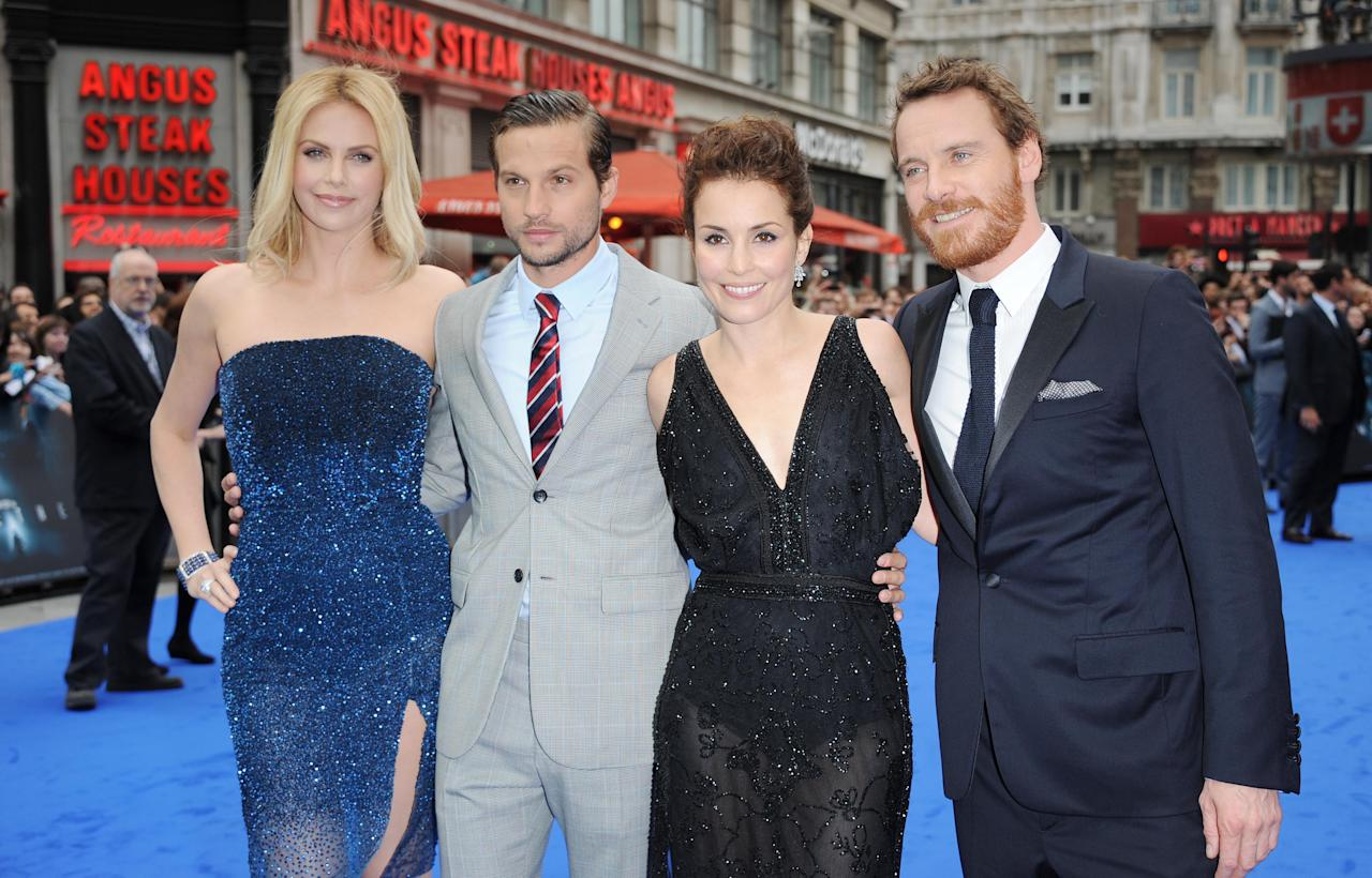 LONDON, UNITED KINGDOM - MAY 31: Charlize Theron, Logan Marshall-Green, Noomi Rapace and Michael Fassbender attend the world premiere of Prometheus at Empire Leicester Square on May 31, 2012 in London, England. (Photo by Stuart Wilson/Getty Images)