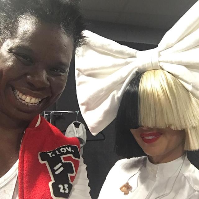 "<p>Jones is gleeful. Sia is hidden under a wig … but they apparently had a good conversation. Was it about how to move through the world with half of your face in hiding? Oh, who cares? These two are super-cute — individually and together. (Photo: <a href=""https://www.instagram.com/p/BKNCBMej7yd/?hl=en&taken-by=lesdogggg"" rel=""nofollow noopener"" target=""_blank"" data-ylk=""slk:Leslie Jones via Instagram"" class=""link rapid-noclick-resp"">Leslie Jones via Instagram</a>) </p>"