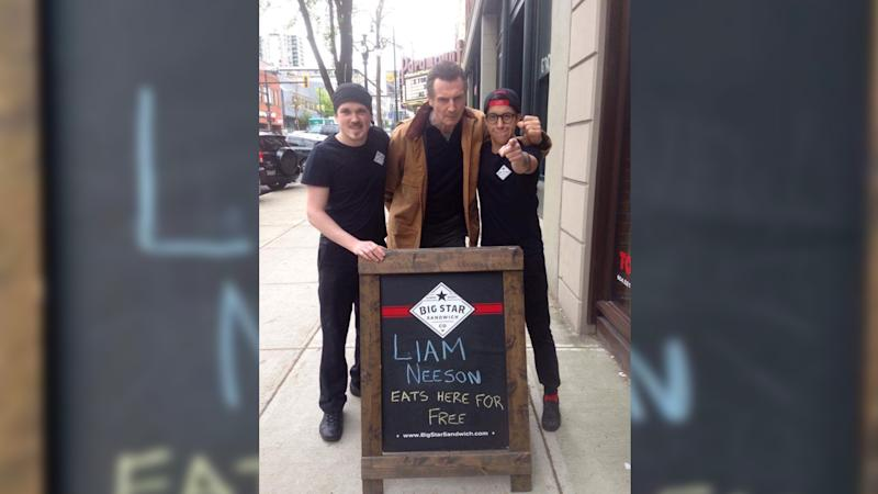 Big Star Sandwich succeeded in getting Liam Neeson to pay them a visit. Photo from Twitter