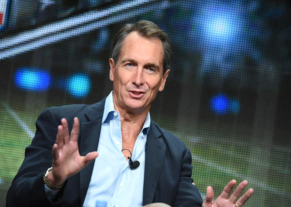 Cris Collinsworth participate in the Monday Night Football panel at the NBCUniversal Television Critics Association Summer Tour at the Beverly Hilton Hotel on Thursday, Aug. 13, 2015, in Beverly Hills, Calif. (Photo by Richard Shotwell/Invision/AP)
