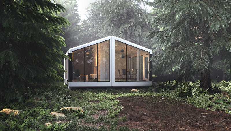 A rendering of one of haus.me's off-the-grid home models