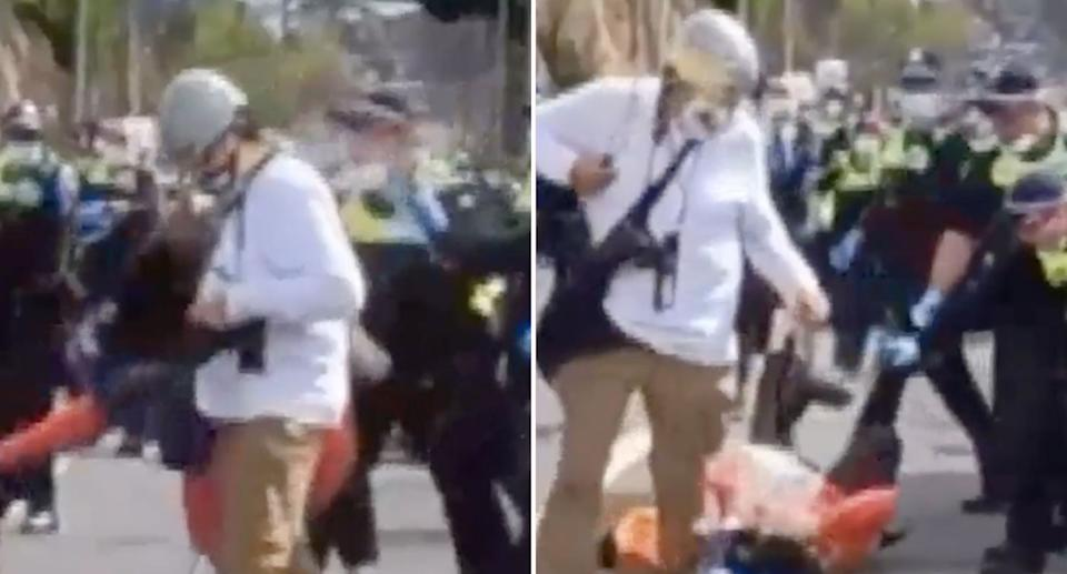 A woman was allegedly pushed to the ground by a police officer and sprayed with capsicum spray. Source: ABC