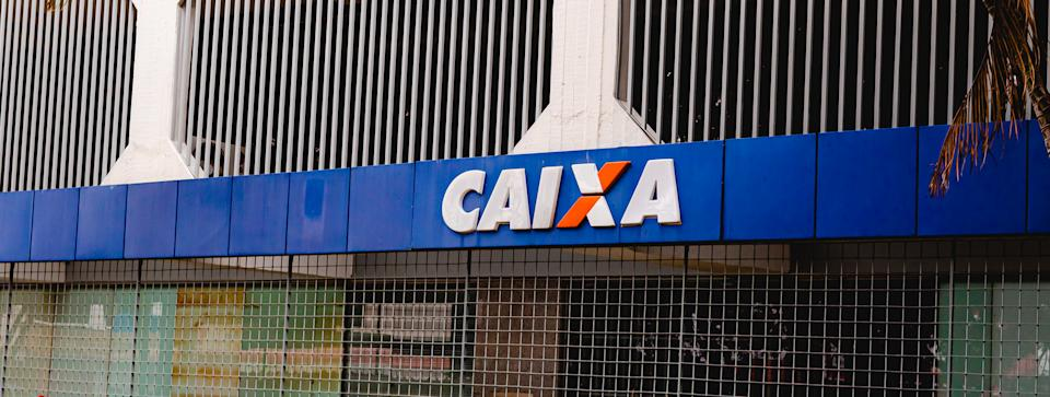 Bank agency of the federal savings bank in the city of brasilia, federal district. Also known as CAIXA.  It is a Brazilian federal public company.Brasilia, Federal District - Brazil. January, 10, 2021.