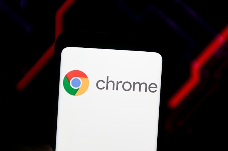 In this photo illustration a Google Chrome logo seen...